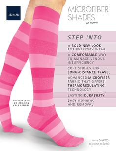 NEW FROM SIGVARIS MICROFIBER SHADES for Women in Pink Stripe SIGVARIS graduated compression products are constructed to be tightest at the ankle and decrease in pressure going up the legs, improving circulation and providing relief for tired, achy Compression Stockings, Shades For Women, Improve Circulation, Massage Therapy, Pink Stripes, New Look, Ankle, Legs, Fabric