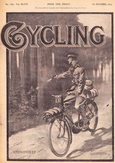 Canadian cycling magazine cover dedicated to the military bicycle infantry, 1915
