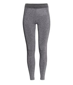 Gray long-john tights in seamless, fast-drying functional fabric with elasticized waistband. | H&M Sport