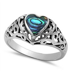 Fine Jewelry Pearl Any Size 4 To 12 Hearty Abalone Shell Gemstone 925 Sterling Silver Designer Ring