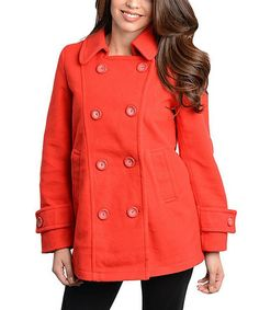 Take a look at this Red Tab Sleeve Peacoat by Buy in America on #zulily today!