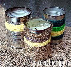 Citronella candles are easy to make; wrap 'em in burlap and yarn, as did .gardentherapy.