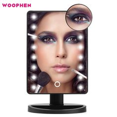 Lighted Makeup Mirrors Woophen Professional 16 LED Touch Dimmable Vanity Mirror Intelligent Adjustable Cosmetic Mirrors with Removable Magnifying Mirrors, Batteries & USB Powered Led Makeup Mirror, Lighted Vanity Mirror, Makeup Mirror With Lights, Vanity Mirrors, Mirrors For Sale, Magnifying Mirror, Home Decor Mirrors, Beautiful Mirrors, Fotografia