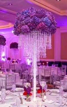 Purple hydrengeas and hanging crystals ~ JEFF+AMBER Photography, Creative Occasions, Jan Dekker Designs   bellethemagazine.com