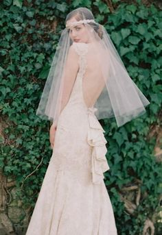 fabulous veil with Claire Pettibone 'Provence' wedding gownl