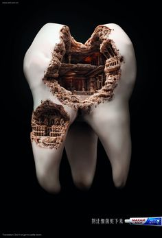 Roman Civilization Cavity is a part of a print advertising campaign for Maxam's toothpaste. The idea is to not let germs settle down on your teeth, or else you will end up with a Colosseum cavity. The design was made by agency JWT Shanghai. of two pins] Watercolor Flower, Dental Art, Dental Teeth, Smile Dental, Teeth Braces, Smile Teeth, Braces Smile, Best Ads, Photoshop
