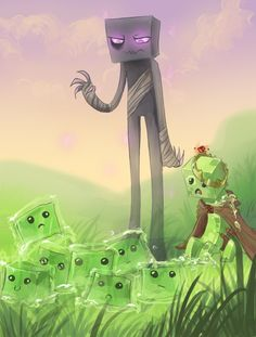 """Don't hurt my bro"" // Enderman, Creeper, and Slimes"