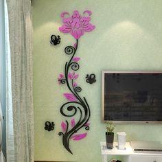 Aliexpress.com: Compre 2015 flor rosa videira adesivos de parede 3d acrílico cristal tridimensional adesivos de parede tv fundo saguão parede de confiança adesivo na janela traseira do carro fornecedores em Pontian girl's store.