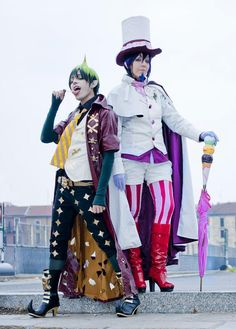 This Amaimon アマイモン and Mephisto Pheles メフィスト・フェレス (Ao no Exorcist) cosplay from deviantART.com's Hadukoushi and Elisa Cosplay is devilishly good.