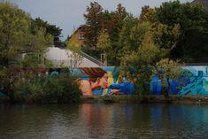 3Steps | Fluvius Mystique | River Tales | Flussgeschichten | 2014 | street art festival | 3Steps | Giessen | urban | Art | Kunst | streetart | muralart | Delfin | dolphin | kiss | Kuss | girl