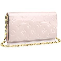 Chaine Wallet ($1,140) ❤ liked on Polyvore featuring bags, wallets, genuine leather bag, monogram leather bag, chain bag, leather wallet and pink bag