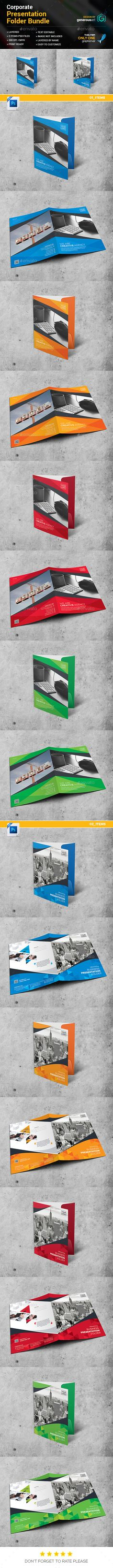 Corporate Business Presentation Folder Design Template Bundle 2 in 1 - Stationery Print Templates PSD. Download here: https://graphicriver.net/item/presentation-folder-bundle-2-in-1/19261205?ref=yinkira
