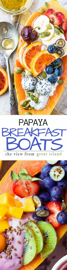Papaya Breakfast Boats ~ oh my, breakfast just got a whole lot more interesting, with gorgeous tropical papaya halved and filled with non dairy yogurt and fresh juicy fruit. #sponsored | yogurt | non-dairy yogurt | plant based food | gluten free | vegan | brunch | tropical fruit |