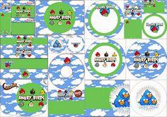 Angry Birds con Nubes: Etiquetas Candy Bar para Imprimir Gratis.