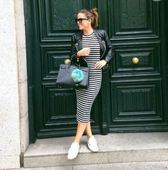 Stripes dress with leather jacket