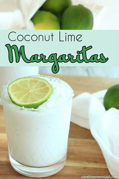 lime margarita These Coconut Lime Margaritas are frozen and refreshing. With only a few ingredients, they come together in no time! Tequila Drinks, Cocktail Drinks, Cocktail Recipes, Lime Drinks, Alcoholic Drinks, Holiday Drinks, Summer Drinks, Fun Drinks, Pool Drinks