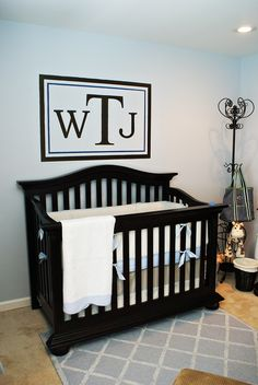 Best 17 Sophisticated Baby Nursery Room Designs : Light Blue Colored Wall Sophisticated Baby Nursery Room Decoration with Black Wood Finish . Baby Nursery Themes, Nursery Room Decor, Baby Boy Rooms, Baby Boy Nurseries, Girl Nursery, Nursery Ideas, Room Ideas, Wall Decor, Wall Art