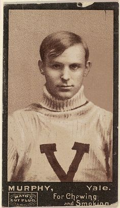 """Issued by P.H. Mayo & Brother, Richmond, Virginia (American). Murphy, Yale University, from the College Football Stars series (N302) for Mayo's Cut Plug Tobacco, 1894. The Metropolitan Museum of Art, New York. The Jefferson R. Burdick Collection, Gift of Jefferson R. Burdick (Burdick 222, N302.30) 