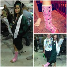 My daughter broke her foot two days before her graduation and she was so sad because she was going to walk on stage with crutches and a cast. So I decided to decorate her cast with bling to brighten her spirits. She loved it and got many many compliments which made her shine even brighter on her special day. Short Legs, Long Legs, Llc Cast, Ankle Cast, Long Leg Cast, Paris Crafts, Dont Text And Drive, Cast Art, Crutches