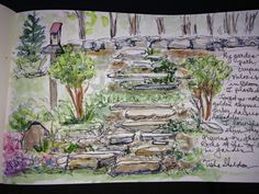 Pen and ink, and watercolor by Tisha Sheldon