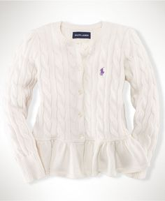 Love this sweater. Ralph Lauren Kids Sweater, Little Girls Peplum Cardigan - Kids Girls 2-6X - Macy's $49.50 #MacysBTS