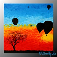Hot Air Balloon Painting AcRyLiCs on Box Canvas by ArtworkbyJeni Beginning Painting Ideas, Balloon Painting, Its A Girl Balloons, Silhouette Painting, Elements And Principles, Hot Air Balloon, Balloon Tree, Paint Party, Canvas Art