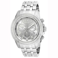 Invicta 16260 Men's Stainless Steel Bracelet Swiss Quartz Pro Diver Chrono Silver Dial Diamond Watch