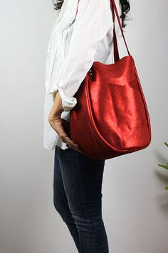 Metallic Leather Tote Bag/Cherry Red Leather Shoulder