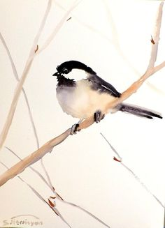Chickadee, Original watercolor painting, 12 X 9, bird lover, nursery art, kids wall art, illustration, bird, birds