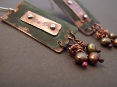 Rustic Copper Riveted Earrings with Natural Pearls. $60.00, via Etsy.