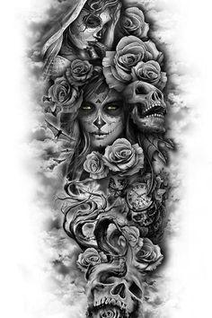 Skull Rose Tattoos, Skull Sleeve Tattoos, Best Sleeve Tattoos, Body Art Tattoos, Tribal Tattoos, Lily Tattoo Sleeve, Skull Couple Tattoo, Dragon Tattoos, Polynesian Tattoos