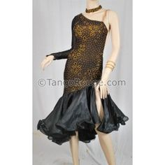Share me and get 5% off coupon Black Ruffle Latin Salsa Tango Dance Dress - M