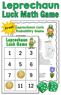Leprechaun Luck Free Math Game for St. Free Math Games, Fun Math, Engage In Learning, Learning Games, Math Resources, Math Activities, Leprechaun Games, Probability Games, Guided Math Groups