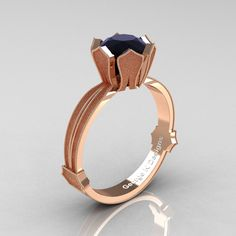 Unique, elegant and chic, this Classic Armenian 14K Rose Gold 1.0 Ct Black Diamond Solitaire Engagement Ring R377-14KRGSBD by George K Designs evokes absolute beauty and lasting style, is sure to please her taste. Includes: * 1 x approx 5.0 grams TW of cast solid 14K rose gold ring setting (unique gold surface patters) * 1 x round 1.0 carat top quality lab grown black diamond center stone (cz base) * Ring size 7 (United States), N 1/2 (United Kingdom) sizable * Deluxe jewelry box Features…