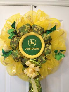 John Deere wreath, in yellow poly deco mesh and camo and green bows