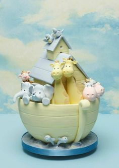 Noah's Ark - Baby Shower Cake by Debbie Brown Baby Cakes, Pink Cakes, Fondant Cakes, Cupcake Cakes, Noahs Ark Cake, Noahs Ark Theme, Debbie Brown, Gateau Baby Shower, Animal Cakes