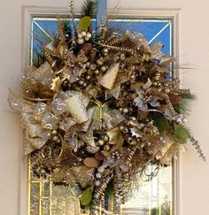 Gold and Cream Christmas WreathChristmas Wreath in by 4allseasons