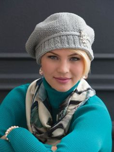 "This photo of the Slouchy Seed-Stitch Hat is from the book, ""60 Quick Luxury Knits"" from Sixth & Spring Books."
