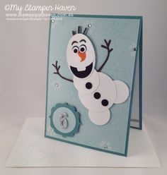 Endless Wishes, Olaf Frozen punch art birthday card #MyStampinHaven #StampinUp  INSPIRED BY: http://mypapercraftjourney.com/2014/07/23/frozen-themed-cards-olaf/