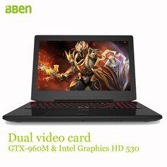 Bben chơi game máy tính xách tay máy tính windows10 15.6 inch, DDR4 RAM 8 GB, SSD 128 GB, 1 TB HDD, i7-6700HQ intel ultrabook quad lõi