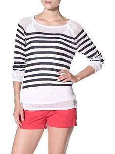 49% OFF 525 America Women's Stripe with Mesh Top (White Combo)