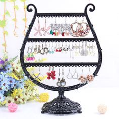 Steel cup-shaped earring shelf nice design jewelry display can hold 56pcs earrings good jewellery stand rack with good quality