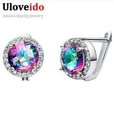 Mystic Earrings for Women Rainbow Pendientes Brincos Sterling Silver Jewelry Earring Bijouterie New Year Gifts Uloveido R198