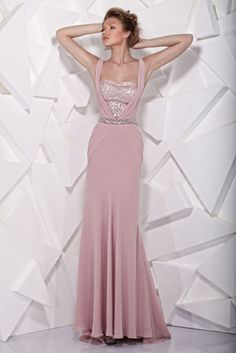 TONY WARD - Pink evening dress cut on the waist. Sequined bodice covered by georgette forming a V-shape.