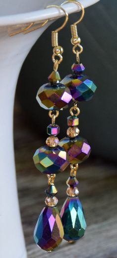Peacock Faceted Glass Crystal Teardrop and Rondelle Beaded Dangle Earrings with Gold Plated Ear Wires. Rainbow Glass Beaded Dangle Earrings.