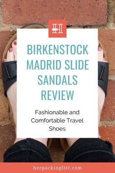At Her Packing List we love the Birkenstock Madrid slide sandals for going to the beach, walking cobblestone streets or going out for dinner. Finding a versatile travel shoe has always been our goal and this one is definitely a winner. Click to learn more about it. #travelshoeswomen #birkenstocksandals Travel Shoes Women, Her Packing List, Cork Material, Backpack Reviews, Birkenstock Sandals, Packing Light, Hiking Shoes, Slide Sandals, Comfortable Shoes