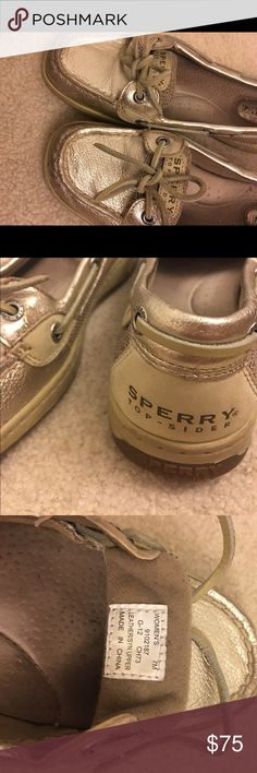 Women's size 7 Sperry gold metallic shoes Metallic gold boat shoes size 7. No box, used condition. Sperry Shoes
