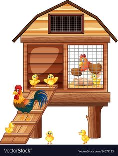 Chicken coop with many chicks Royalty Free Vector Image Farm Animals Preschool, Preschool Activities, Preschool Phonics, Chicken Vector, Art For Kids, Crafts For Kids, Kids Canvas Art, Farm Party, Farm Theme