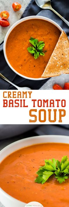 Let this Creamy Tomato Basil Soup serve as your healthy, leisurely muse on a quiet Sunday evening. Tomatoes are packed with vitamin C, K, potassium and folate. All of which contribute to your overall bone health. The acidity from the tomatoes in this soup Healthy Soup Recipes, Chili Recipes, Cooking Recipes, Meal Recipes, Sauce Recipes, Delicious Recipes, Dinner Recipes, Yummy Food, Creamy Tomato Basil Soup