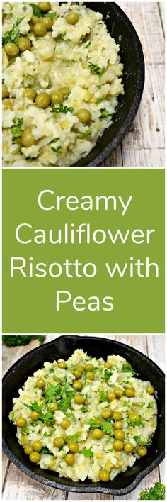 This recipe for cauliflower risotto with peas is creamy, thick and delicious. Its fat-free, gluten-free, sugar-free, low carb, and low calorie.